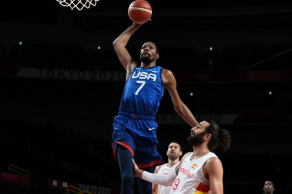 The United States, the former champion, advances to the men's basketball semifinals